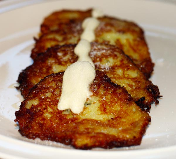 potato pancakes with cream and sugar by martushka