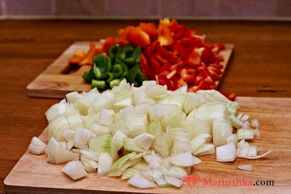 choped onion and pepper